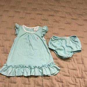 Ralph Lauren cotton dress & diaper cover